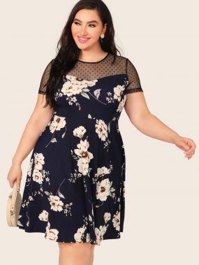 Платье с цветочным принтом и сеткой размера плюс