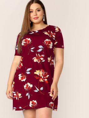 Платье размера плюс с цветочным принтом и круглым воротником