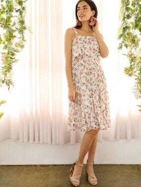 Платье на бретелях со складками и цветочным принтом
