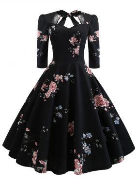 50s платье с бантом и цветочным принтом