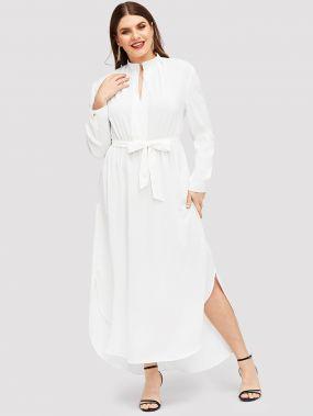 Размера плюс длинное платье-рубашки с поясом
