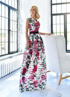 Прямое платье с цветочным принтом MT047B