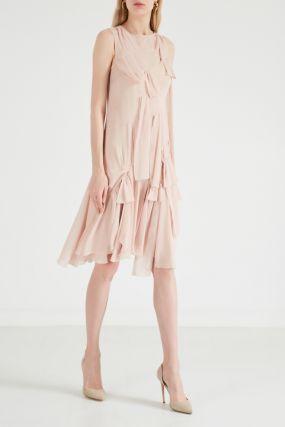 Розовое шелковое платье мини