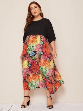 Платье размера плюс с высокой талией и графическим принтом