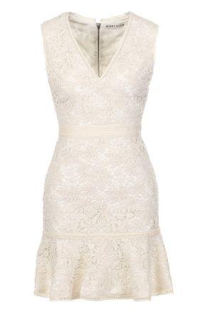 Приталенное кружевное мини-платье с V-образным вырезом Alice + Olivia