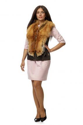 Женская кожаная жилетка из натуральной кожи с воротником, отделка лиса