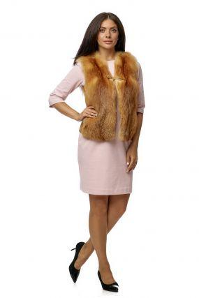 Меховой жилет женский из лисы без воротника