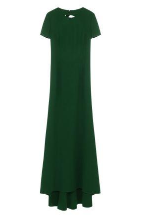 Шерстяное платье-макси с подолом и открытой спиной Oscar de la Renta