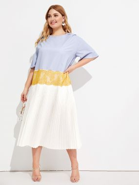 Платье с контрастным кружевом размера плюс