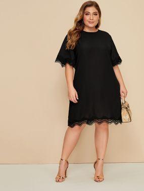 Платье размера плюс с кружевной отделкой и половиным рукавом