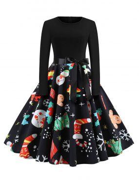 Платье размера плюс с рождественским принтом и поясом