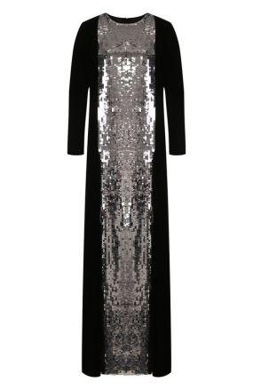 Платье-макси из смеси вискозы и шелка с контрастной отделкой Valentino