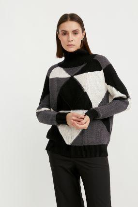 трикотажный женский свитер прямого кроя с шерстью