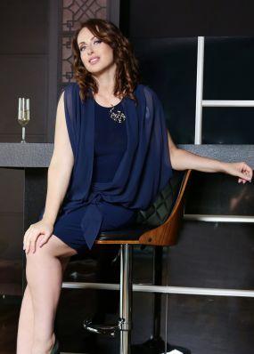 Синее вечернее платье до колена NN087B