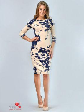 Платье LILA KASS, цвет бежевый, темно-синий