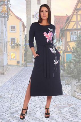 Платье трикотажное Олив (розовый цветок)
