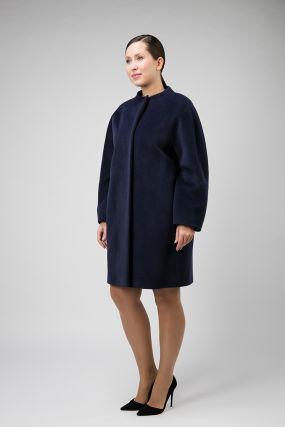 Шерстяное пальто средней длины для большого размера