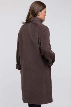 Длинное пальто из шерсти без меха для большого размера