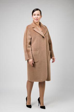 Классическое пальто с английским воротником на большой размер