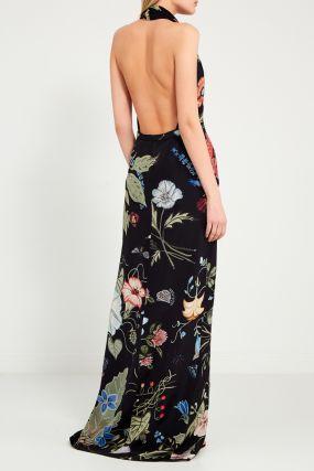 Черное платье-макси с цветами