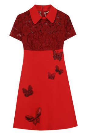 Приталенное мини-платье с кружевным лифом Valentino