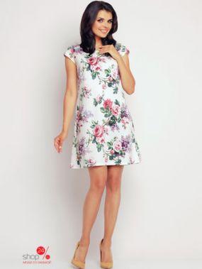 Платье Awama, цвет белый, розовый, зеленый