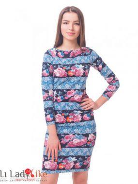 Платье LadyLike, цвет голубой, синий, розовый