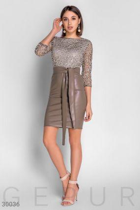 Короткое кожаное платье