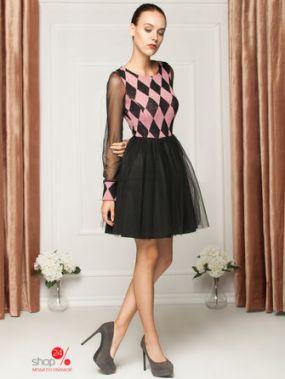 Платье IVONNE FASHION, цвет розовый, черный