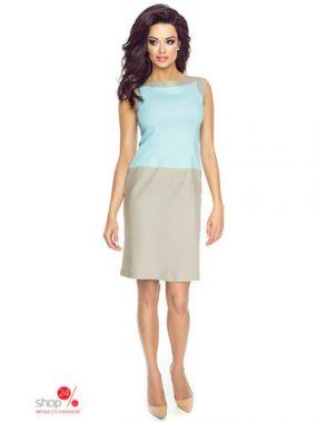 Платье KarteS-Moda, цвет голубой, бежевый
