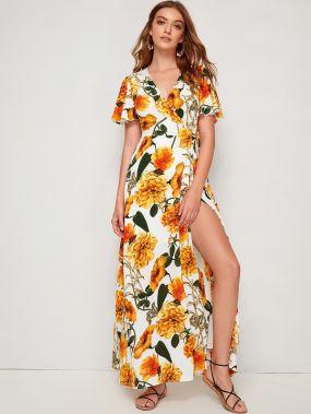 Платье на запах с поясом, оригинальным рукавом и цветочным принтом