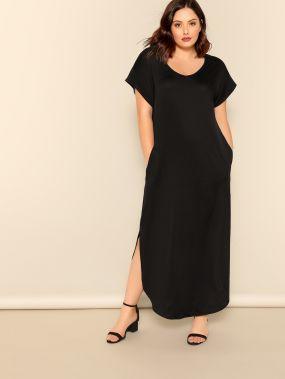 Размер плюс длинное платье с M-вырезами и карманом