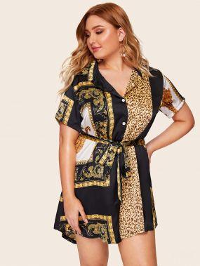 Размера плюс платье-рубашка с графическим принтом