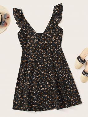 Платье с цветочным принтом и оборкой разреза плюс