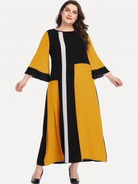 Размера плюс контрастное плоское платье