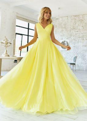 Желтое атласное вечернее платье RB077B