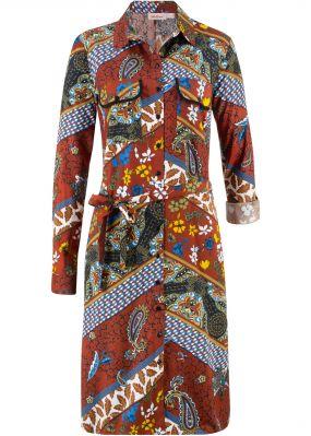 Платье-рубашка с принтом, длинный рукав