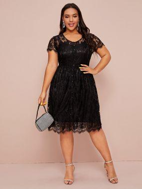 Расклешенное платье размера плюс с фестончатым краем