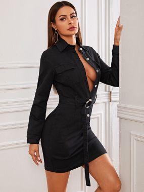 Облегающее джинсовое платье с поясом и пуговицами