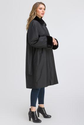 Зимнее пальто трапеция с меховым воротником