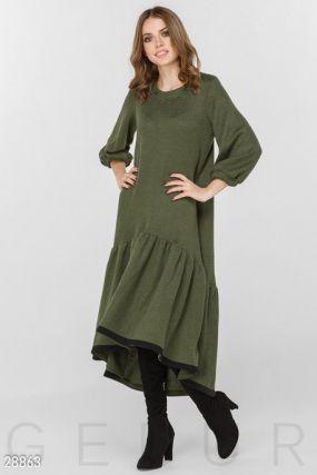 Уютное вязаное платье