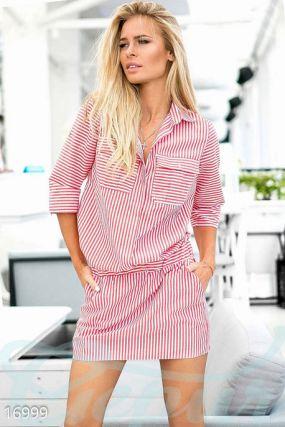 Полосатое платье-рубашка