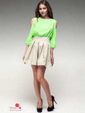Платье Rica Mare, цвет салатовый, бежевый