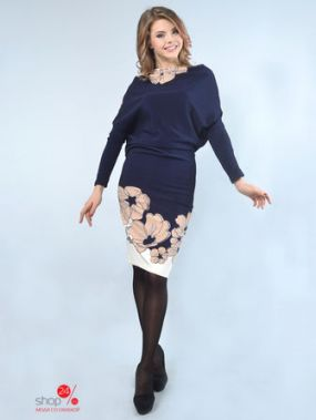 Платье LILA KASS, цвет бежевый, синий
