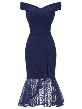 50s кружевное платье-русалка с открытыми плечами