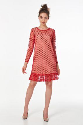 Красное платье сетка с воланом и подкладом из хлопка