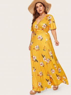 Размера плюс цветочное платье с бантом и запахом