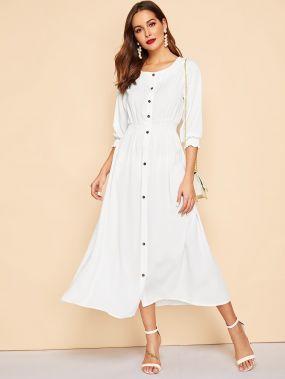 Платье-рубашка с пуговицами на резинке