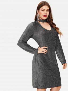 Размера плюс стильное платье с воротником чокер на молнии