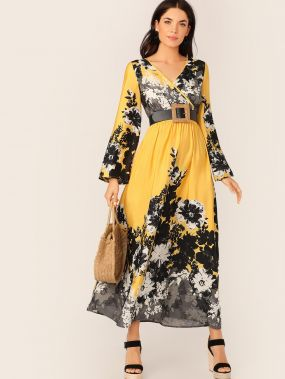 Платье с цветочным принтом, оригинальным рукавом, высокой талией и глубоким V-образным вырезом